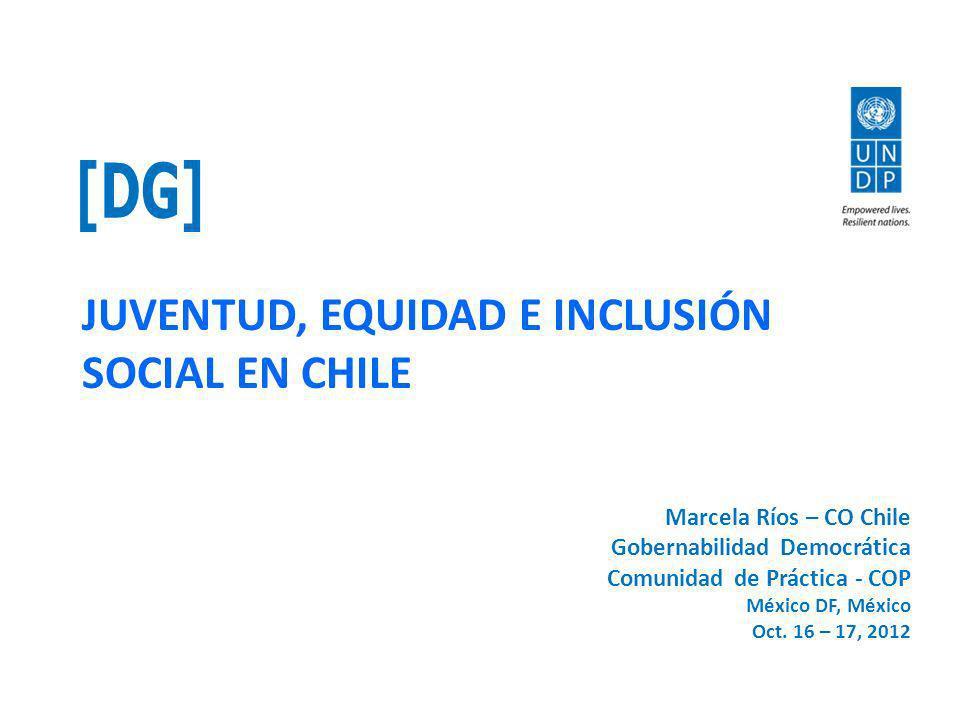 JUVENTUD, EQUIDAD E INCLUSIÓN SOCIAL EN CHILE Marcela Ríos – CO Chile Gobernabilidad Democrática Comunidad de Práctica - COP México DF, México Oct.
