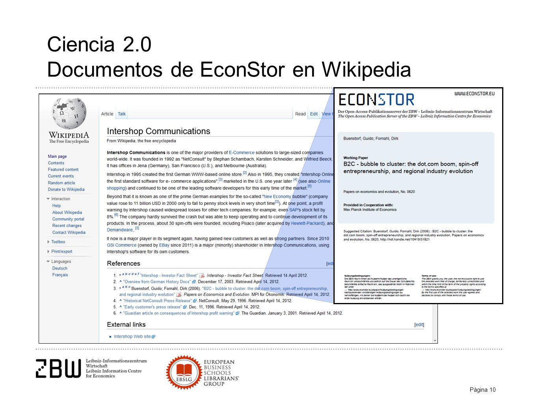 Página 10 Ciencia 2.0 Documentos de EconStor en Wikipedia