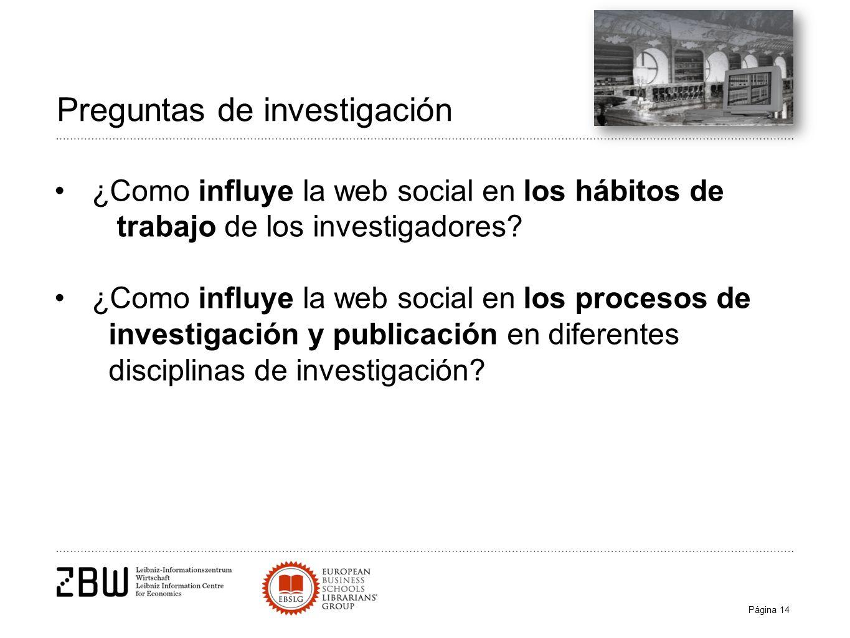 Página 14 Preguntas de investigación ¿Como influye la web social en los hábitos de trabajo de los investigadores.