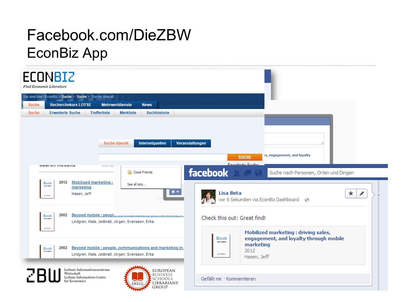Facebook.com/DieZBW EconBiz App
