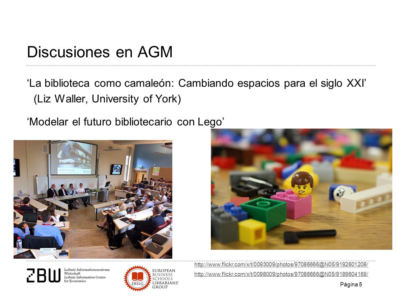 Discusiones en AGM La biblioteca como camaleón: Cambiando espacios para el siglo XXI (Liz Waller, University of York) Modelar el futuro bibliotecario con Lego http://www.flickr.com/x/t/0093009/photos/97086666@N05/9192601208/ http://www.flickr.com/x/t/0098009/photos/97086666@N05/9189604169/ Página 5