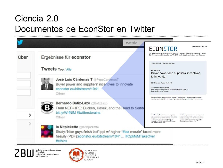 Página 8 Ciencia 2.0 Documentos de EconStor en Twitter