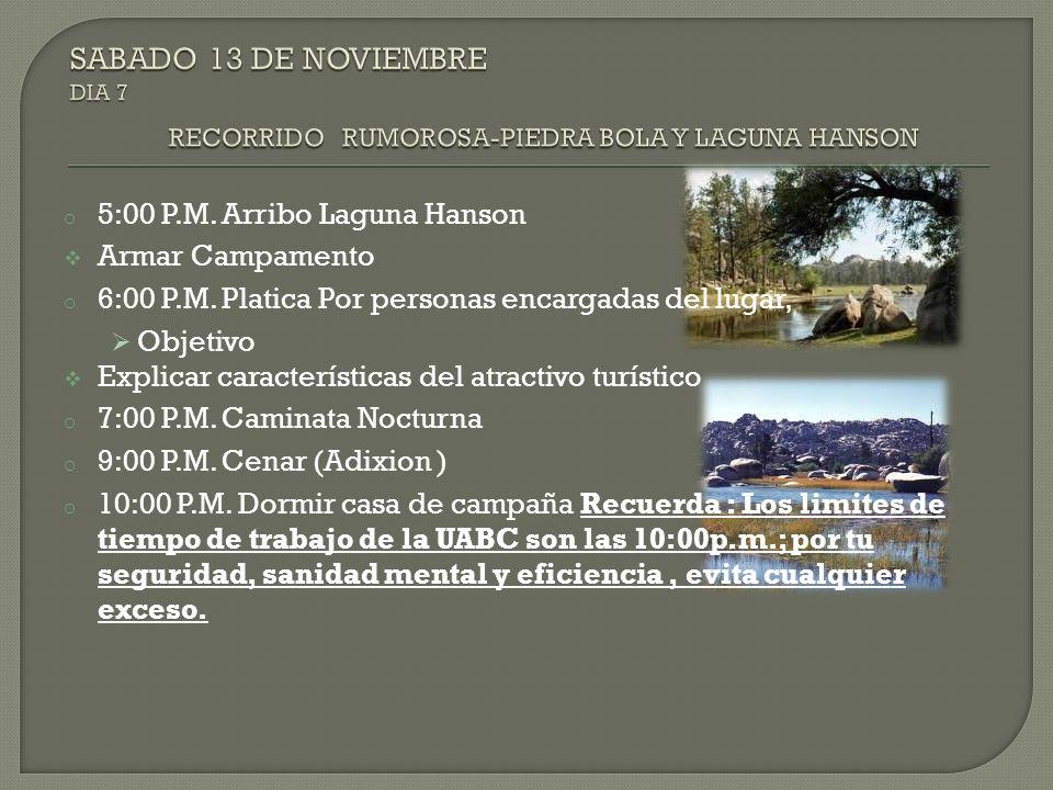 o 5:00 P.M. Arribo Laguna Hanson Armar Campamento o 6:00 P.M. Platica Por personas encargadas del lugar, Objetivo Explicar características del atracti