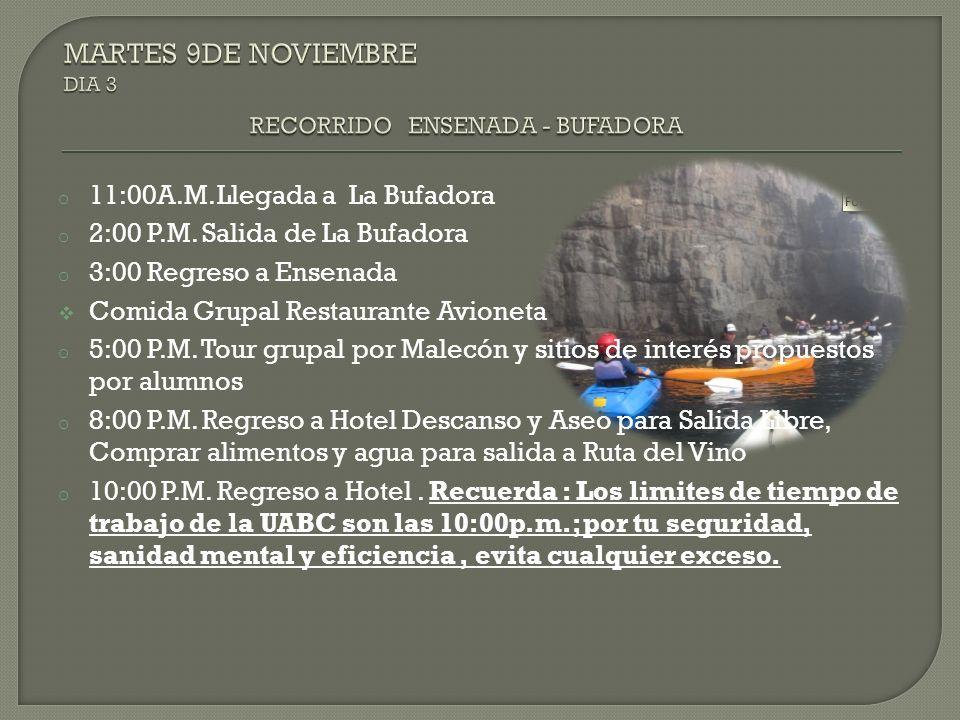 o 11:00A.M. Llegada a La Bufadora o 2:00 P.M. Salida de La Bufadora o 3:00 Regreso a Ensenada Comida Grupal Restaurante Avioneta o 5:00 P.M. Tour grup