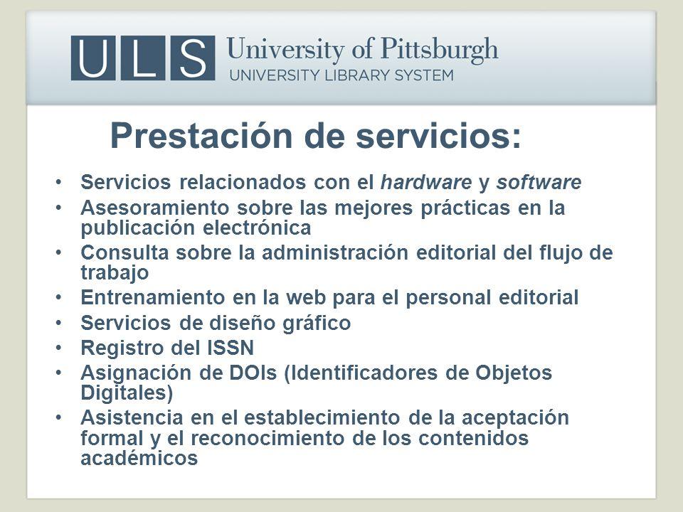 Prestación de servicios: Servicios relacionados con el hardware y software Asesoramiento sobre las mejores prácticas en la publicación electrónica Con
