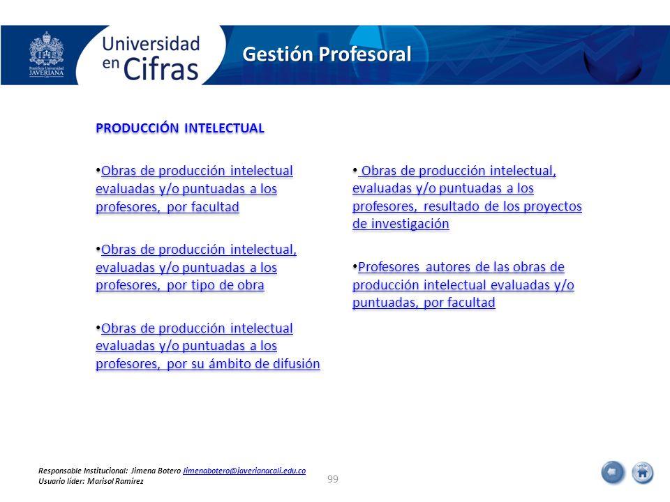 PRODUCCIÓN INTELECTUAL Obras de producción intelectual evaluadas y/o puntuadas a los profesores, por facultad Obras de producción intelectual evaluada