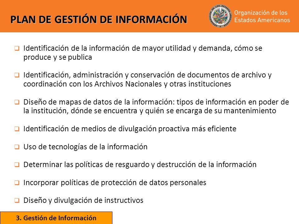 PLAN DE GESTIÓN DE INFORMACIÓN Identificación de la información de mayor utilidad y demanda, cómo se produce y se publica Identificación, administraci