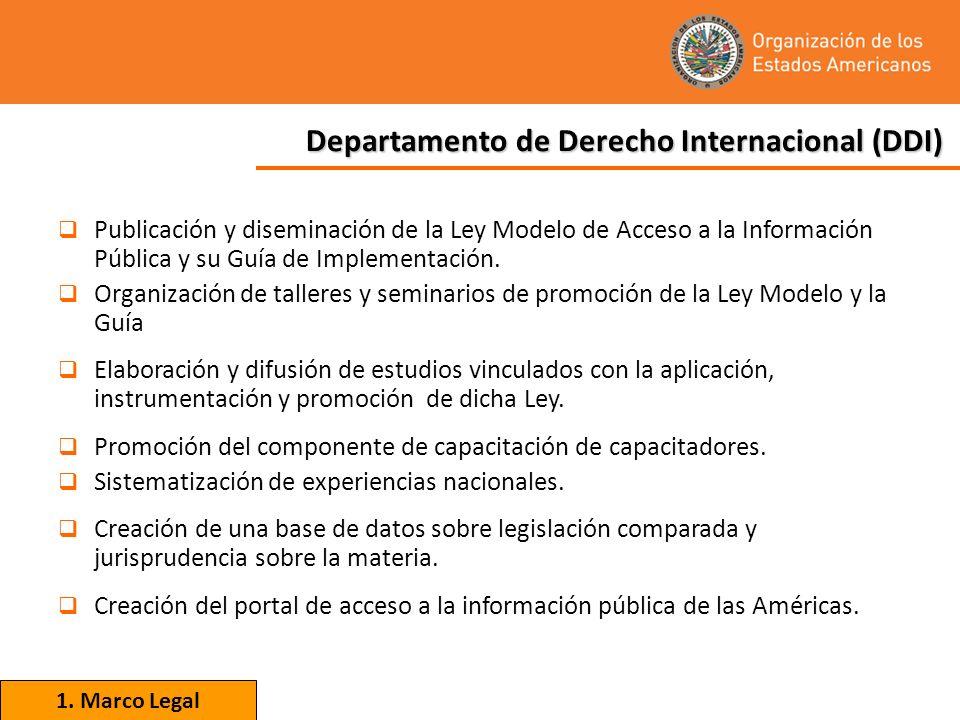 Publicación y diseminación de la Ley Modelo de Acceso a la Información Pública y su Guía de Implementación. Organización de talleres y seminarios de p