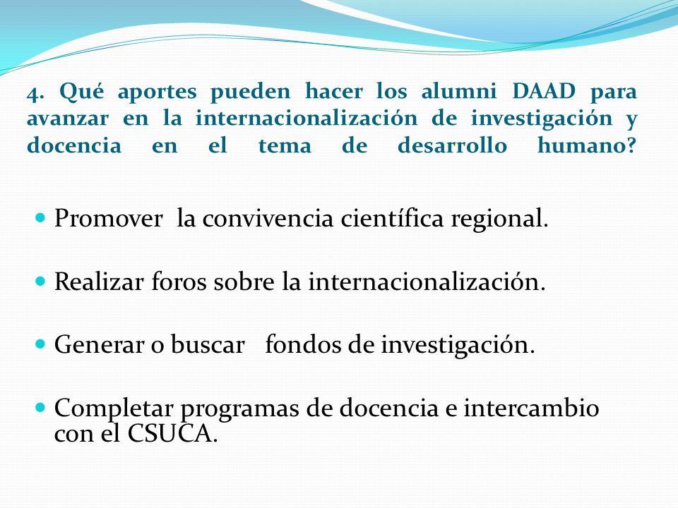 4. Qué aportes pueden hacer los alumni DAAD para avanzar en la internacionalización de investigación y docencia en el tema de desarrollo humano? Promo