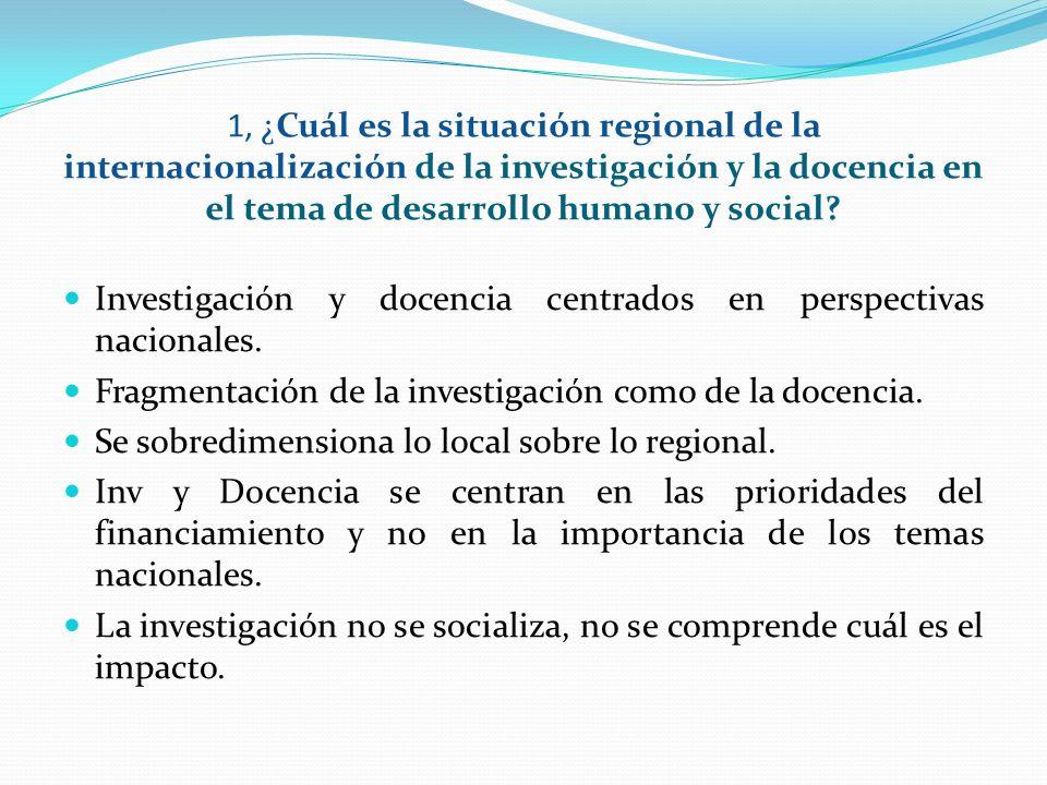 1. 1, ¿Cuál es la situación regional de la internacionalización de la investigación y la docencia en el tema de desarrollo humano y social? Investigac