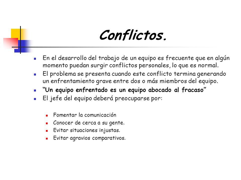 Conflictos. En el desarrollo del trabajo de un equipo es frecuente que en algún momento puedan surgir conflictos personales, lo que es normal. El prob