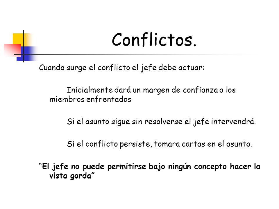 Conflictos. Cuando surge el conflicto el jefe debe actuar: Inicialmente dará un margen de confianza a los miembros enfrentados Si el asunto sigue sin
