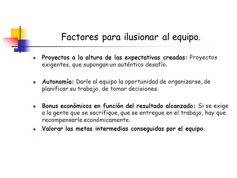 Factores para ilusionar al equipo. Proyectos a la altura de las expectativas creadas: Proyectos exigentes, que supongan un auténtico desafío. Autonomí