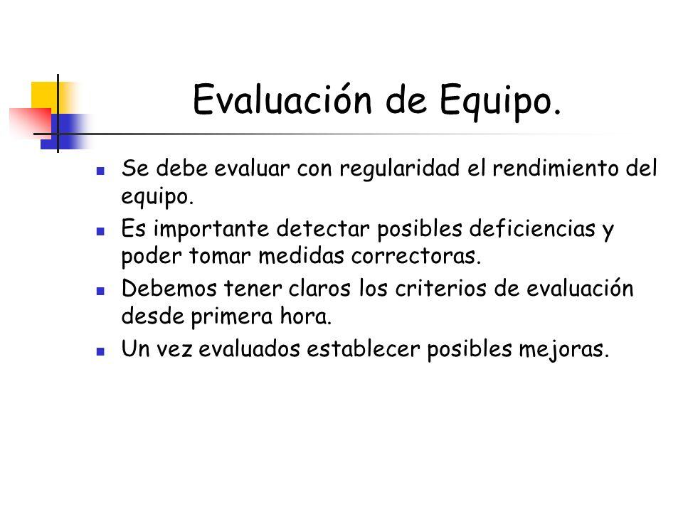 Evaluación de Equipo. Se debe evaluar con regularidad el rendimiento del equipo. Es importante detectar posibles deficiencias y poder tomar medidas co