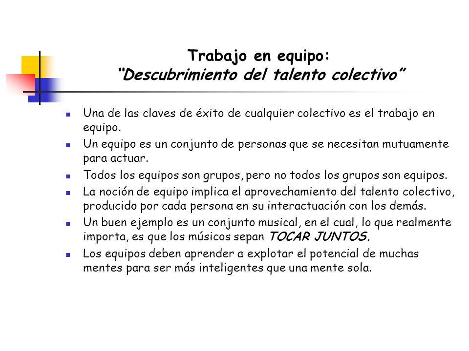 Trabajo en equipo: Descubrimiento del talento colectivo Una de las claves de éxito de cualquier colectivo es el trabajo en equipo. Un equipo es un con