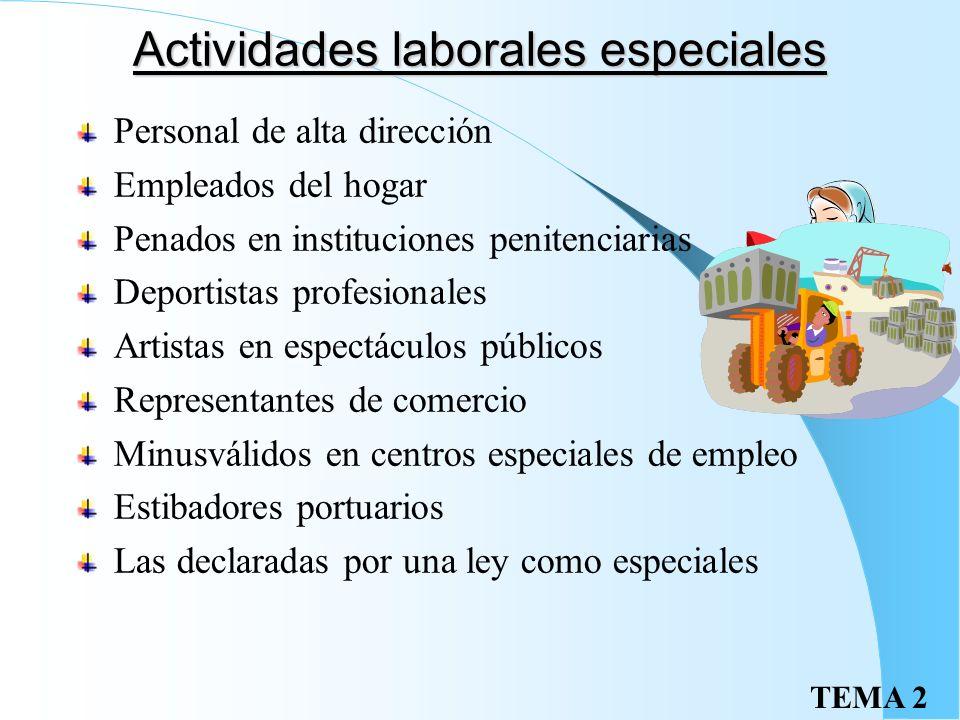 TEMA 2 Actividades no laborales Funcionarios públicos Prestaciones personales obligatorias Consejeros de sociedades Trabajos a título de amistad, bene