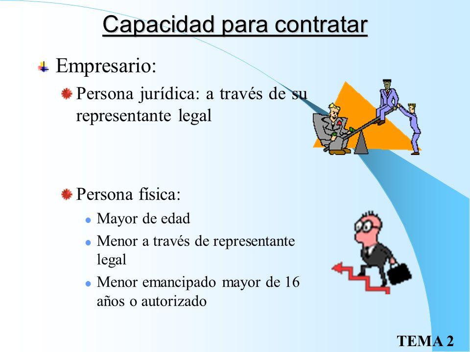 TEMA 2 Capacidad para contratar Empresario: Persona jurídica: a través de su representante legal Persona física: Mayor de edad Menor a través de representante legal Menor emancipado mayor de 16 años o autorizado