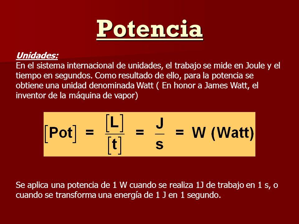 Potencia Unidades: En el sistema internacional de unidades, el trabajo se mide en Joule y el tiempo en segundos. Como resultado de ello, para la poten