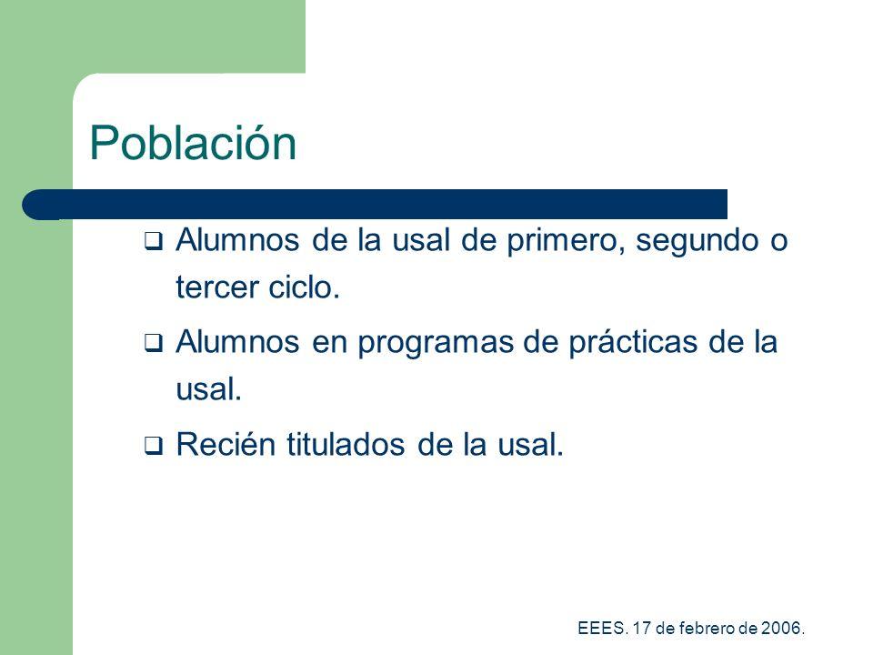 EEES.17 de febrero de 2006. Población Alumnos de la usal de primero, segundo o tercer ciclo.