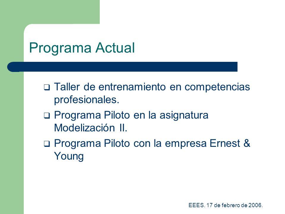 EEES.17 de febrero de 2006. Programa Actual Taller de entrenamiento en competencias profesionales.