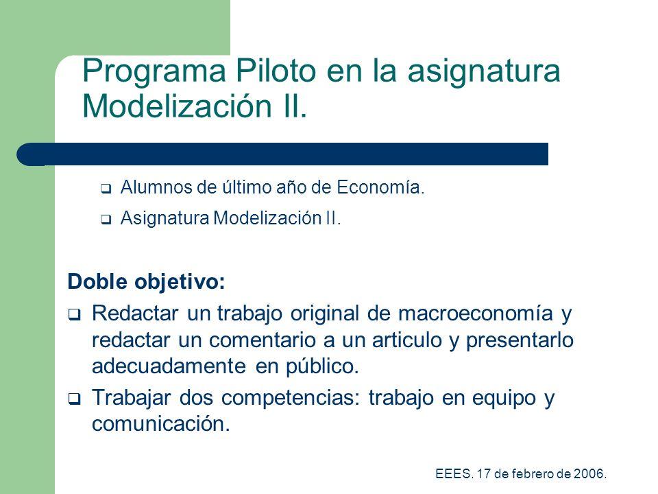 EEES.17 de febrero de 2006. Programa Piloto en la asignatura Modelización II.