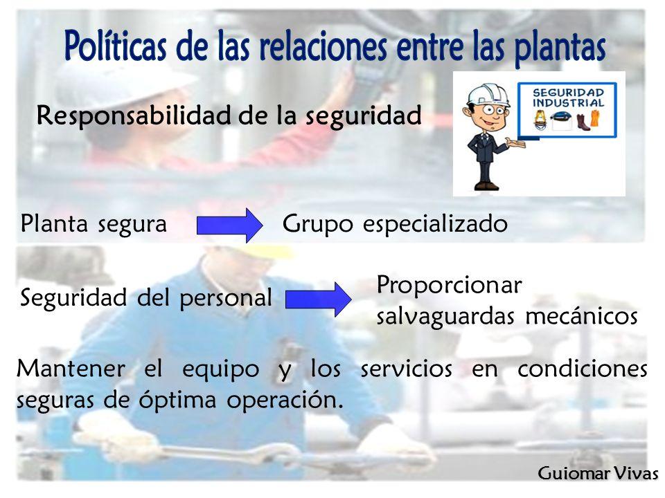 Responsabilidad de la seguridad Guiomar Vivas Planta segura Grupo especializado Seguridad del personal Proporcionar salvaguardas mecánicos Mantener el