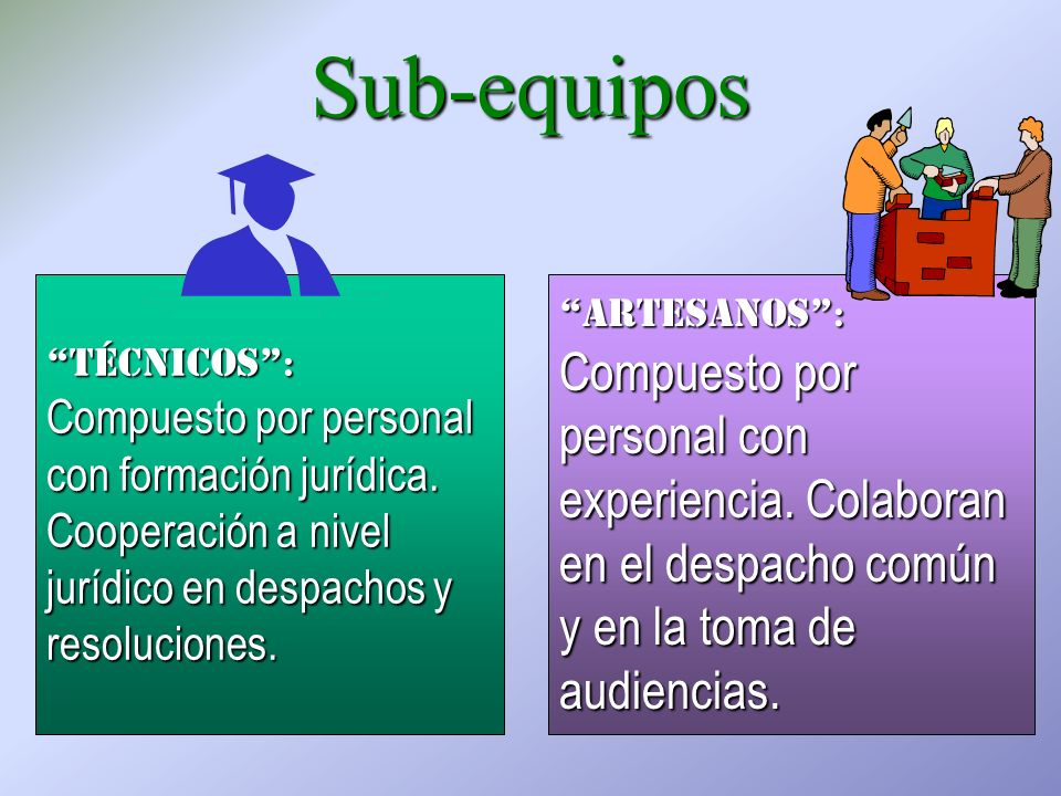 Sub-equipos técnicos : Compuesto por personal con formación jurídica.