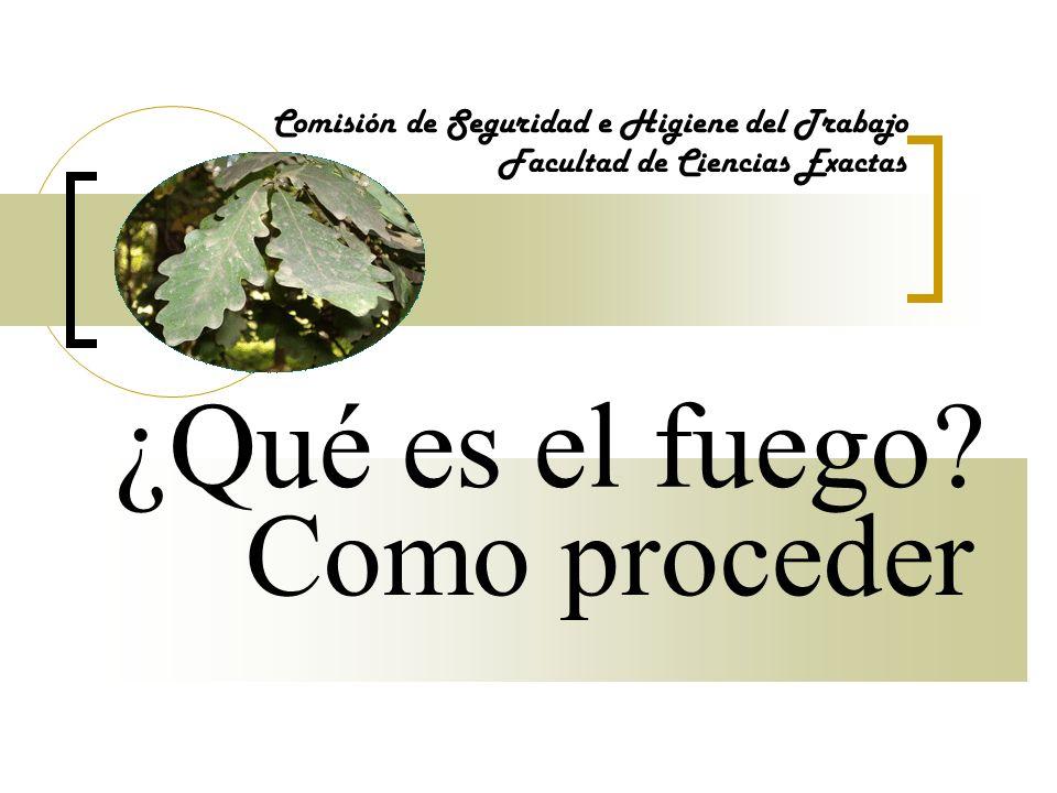Como proceder Comisión de Seguridad e Higiene del Trabajo Facultad de Ciencias Exactas Contrólese, DOMINE EL PANICO, actúe con serenidad.