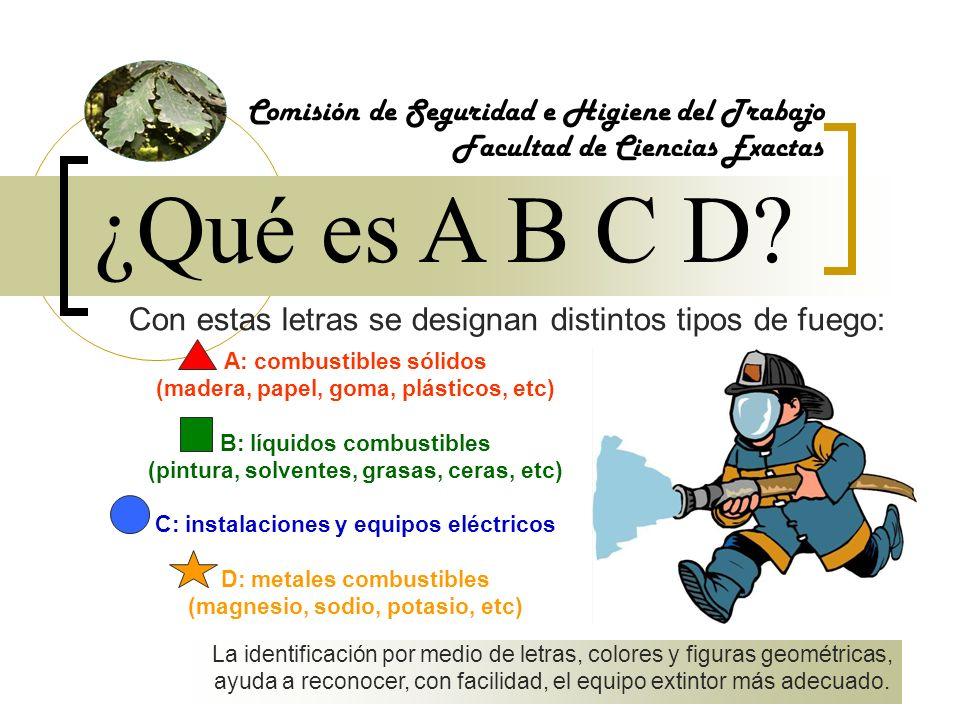 ¿Qué es A B C D? Comisión de Seguridad e Higiene del Trabajo Facultad de Ciencias Exactas A: combustibles sólidos (madera, papel, goma, plásticos, etc
