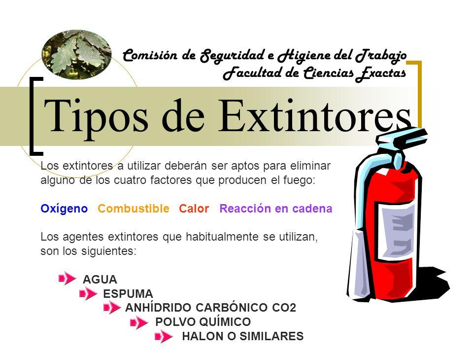 Tipos de Extintores Comisión de Seguridad e Higiene del Trabajo Facultad de Ciencias Exactas Los extintores a utilizar deberán ser aptos para eliminar