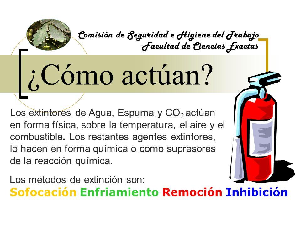 ¿Cómo actúan? Comisión de Seguridad e Higiene del Trabajo Facultad de Ciencias Exactas Los extintores de Agua, Espuma y CO 2 actúan en forma física, s