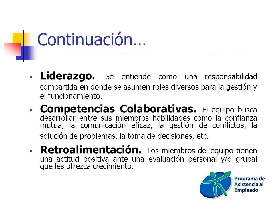 Continuación… Liderazgo. Se entiende como una responsabilidad compartida en donde se asumen roles diversos para la gestión y el funcionamiento. Compet