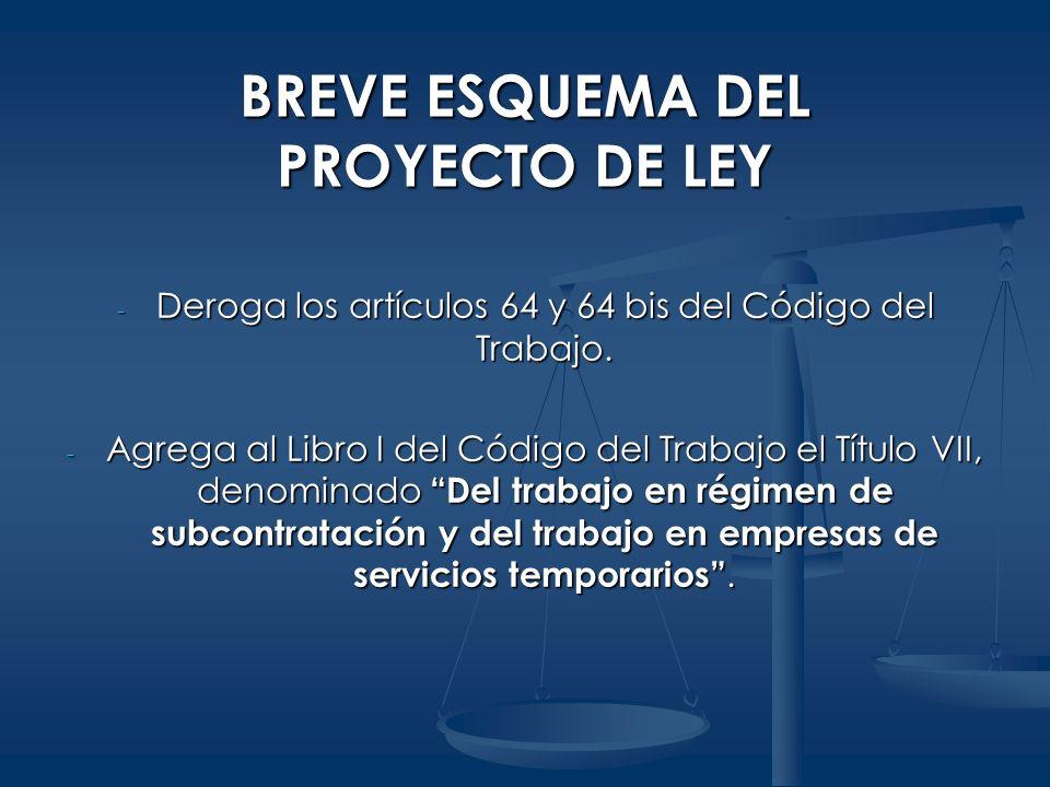 BREVE ESQUEMA DEL PROYECTO DE LEY - Deroga los artículos 64 y 64 bis del Código del Trabajo. - Agrega al Libro I del Código del Trabajo el Título VII,