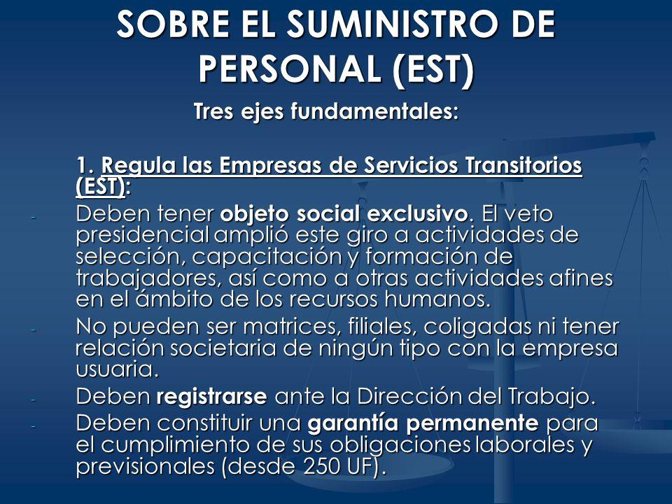 SOBRE EL SUMINISTRO DE PERSONAL (EST) Tres ejes fundamentales: 1. Regula las Empresas de Servicios Transitorios (EST): - Deben tener objeto social exc