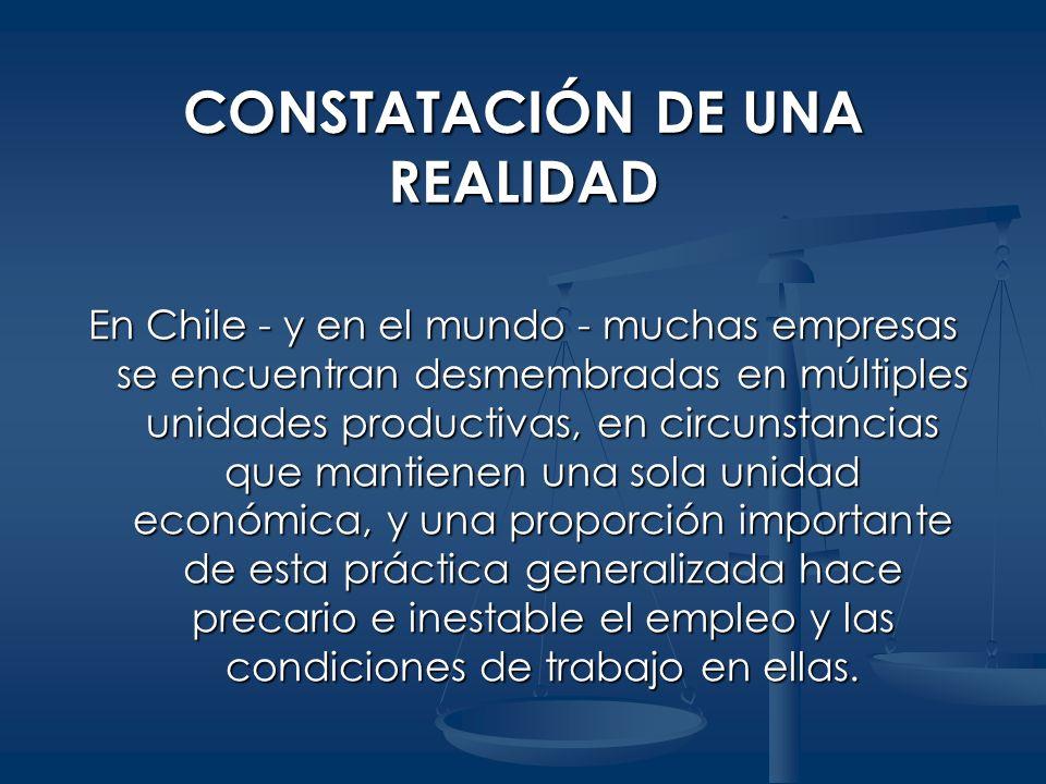 CONSTATACIÓN DE UNA REALIDAD En Chile - y en el mundo - muchas empresas se encuentran desmembradas en múltiples unidades productivas, en circunstancia