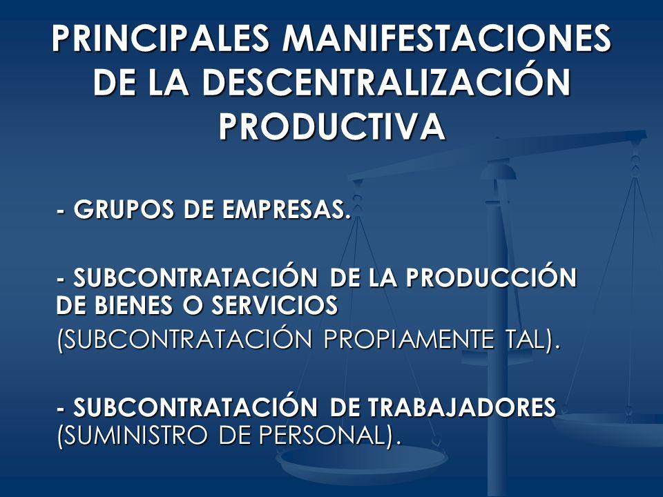 PRINCIPALES MANIFESTACIONES DE LA DESCENTRALIZACIÓN PRODUCTIVA - GRUPOS DE EMPRESAS. - SUBCONTRATACIÓN DE LA PRODUCCIÓN DE BIENES O SERVICIOS (SUBCONT