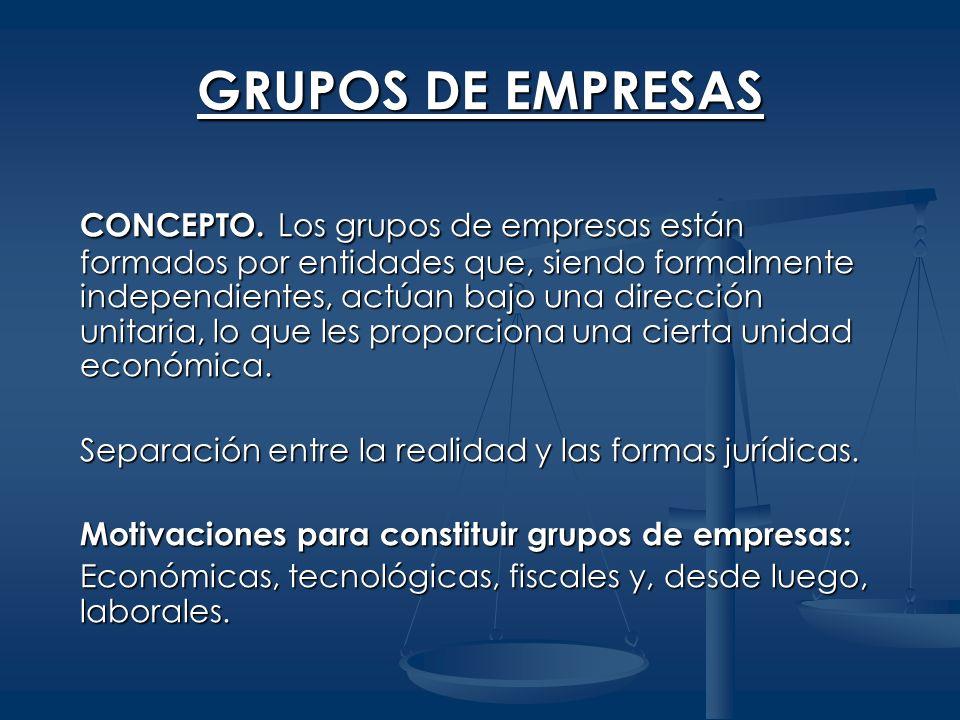 GRUPOS DE EMPRESAS CONCEPTO. Los grupos de empresas están formados por entidades que, siendo formalmente independientes, actúan bajo una dirección uni