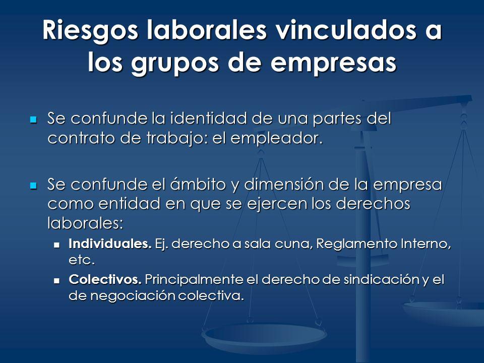 Riesgos laborales vinculados a los grupos de empresas Se confunde la identidad de una partes del contrato de trabajo: el empleador. Se confunde la ide