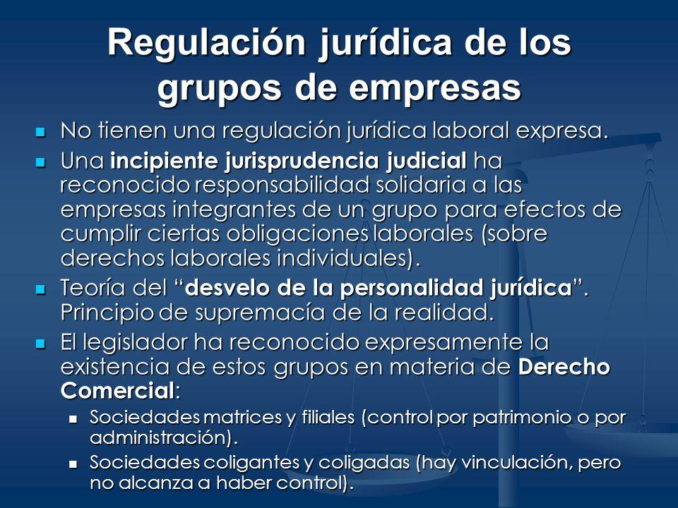 Regulación jurídica de los grupos de empresas No tienen una regulación jurídica laboral expresa. No tienen una regulación jurídica laboral expresa. Un