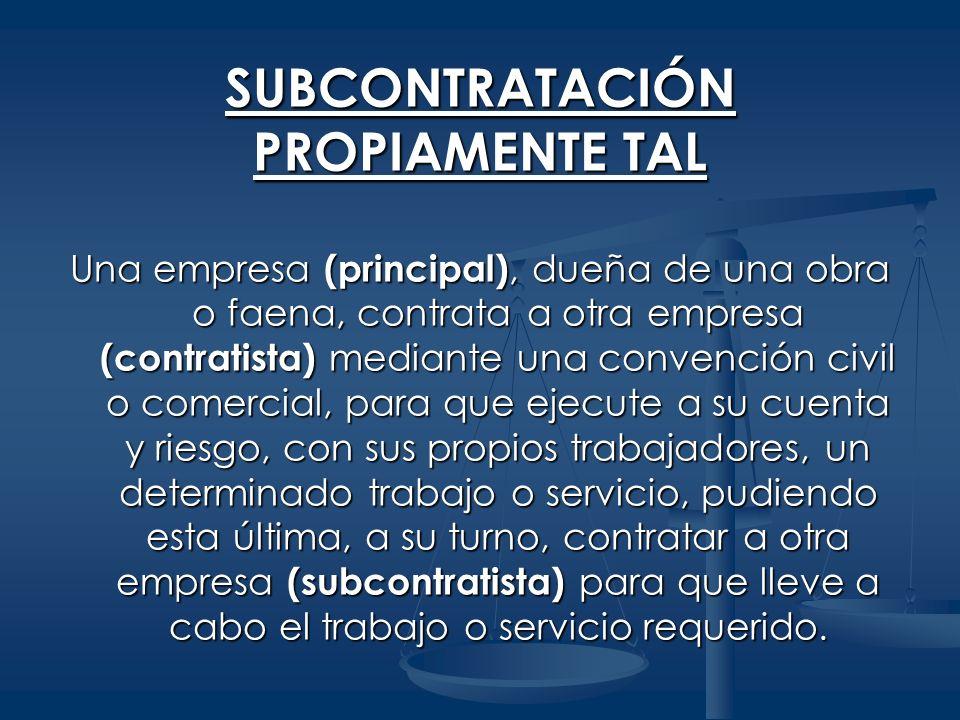 Relaciones Bilaterales Empresa principal Contratista Contrato civil o comercial Contrato civil o comercial Relación laboral Relación laboral Trabajador Trabajador SUBCONTRATACIÓN PROPIAMENTE TAL