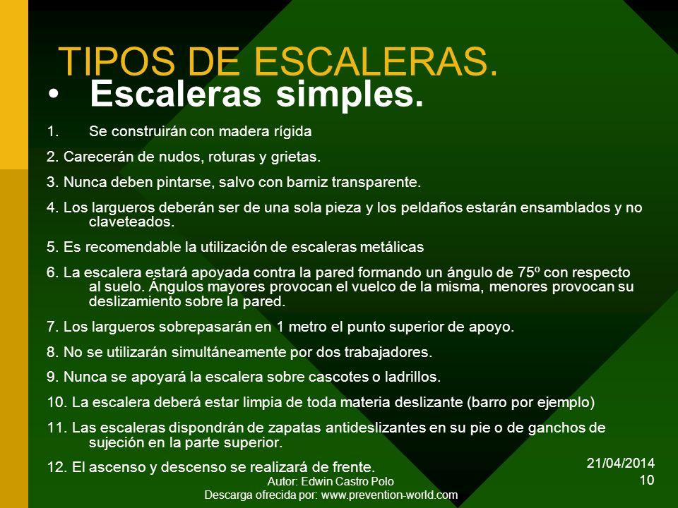 21/04/2014 Autor: Edwin Castro Polo Descarga ofrecida por: www.prevention-world.com 10 TIPOS DE ESCALERAS.