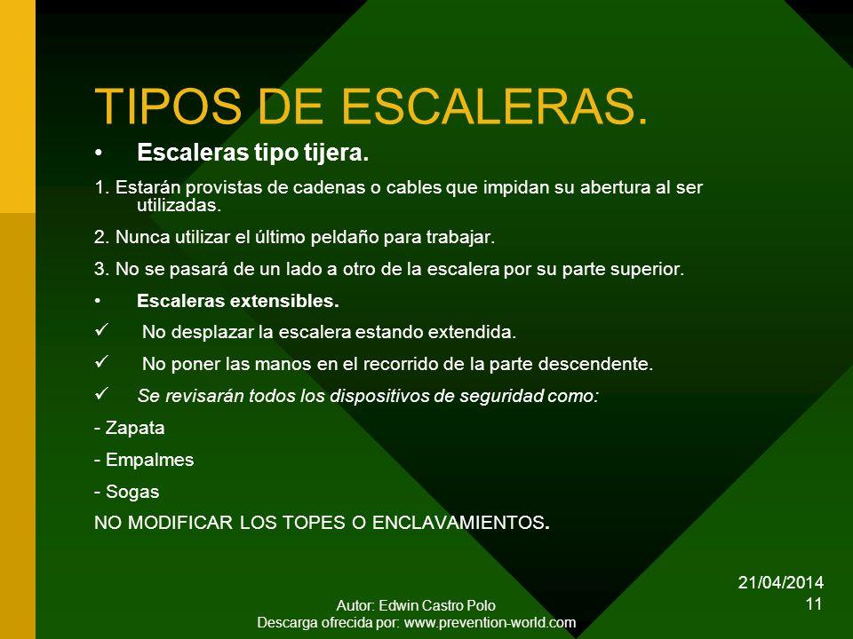 21/04/2014 Autor: Edwin Castro Polo Descarga ofrecida por: www.prevention-world.com 11 TIPOS DE ESCALERAS.