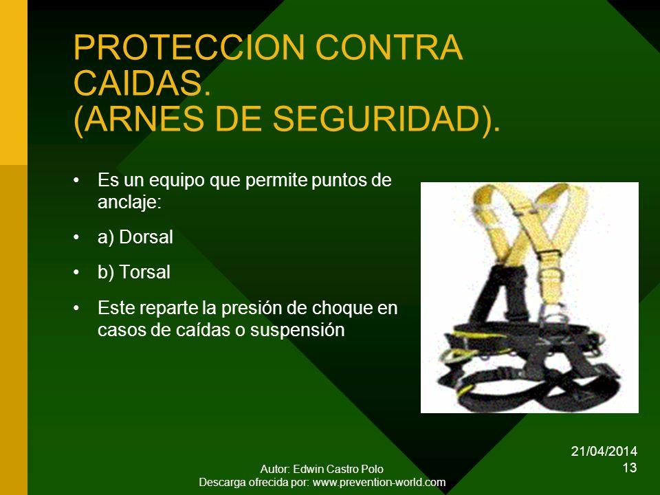 21/04/2014 Autor: Edwin Castro Polo Descarga ofrecida por: www.prevention-world.com 13 PROTECCION CONTRA CAIDAS.