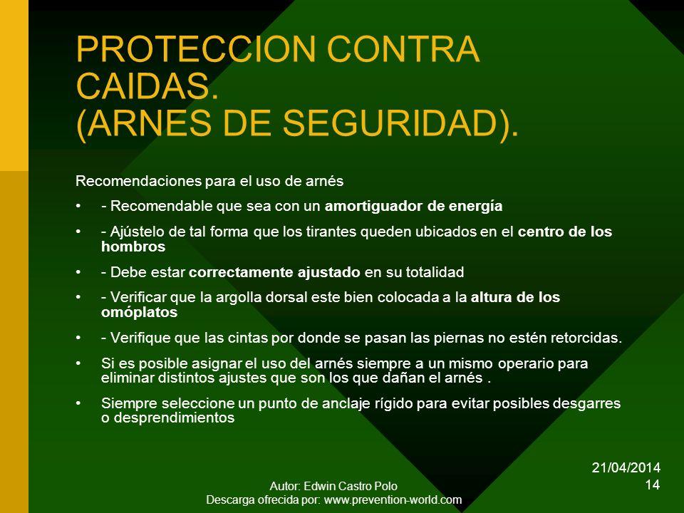 21/04/2014 Autor: Edwin Castro Polo Descarga ofrecida por: www.prevention-world.com 14 PROTECCION CONTRA CAIDAS.