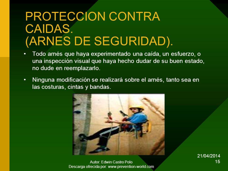 21/04/2014 Autor: Edwin Castro Polo Descarga ofrecida por: www.prevention-world.com 15 PROTECCION CONTRA CAIDAS.