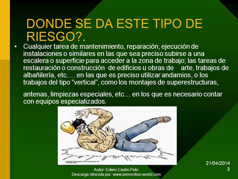 21/04/2014 Autor: Edwin Castro Polo Descarga ofrecida por: www.prevention-world.com 3 DONDE SE DA ESTE TIPO DE RIESGO?.