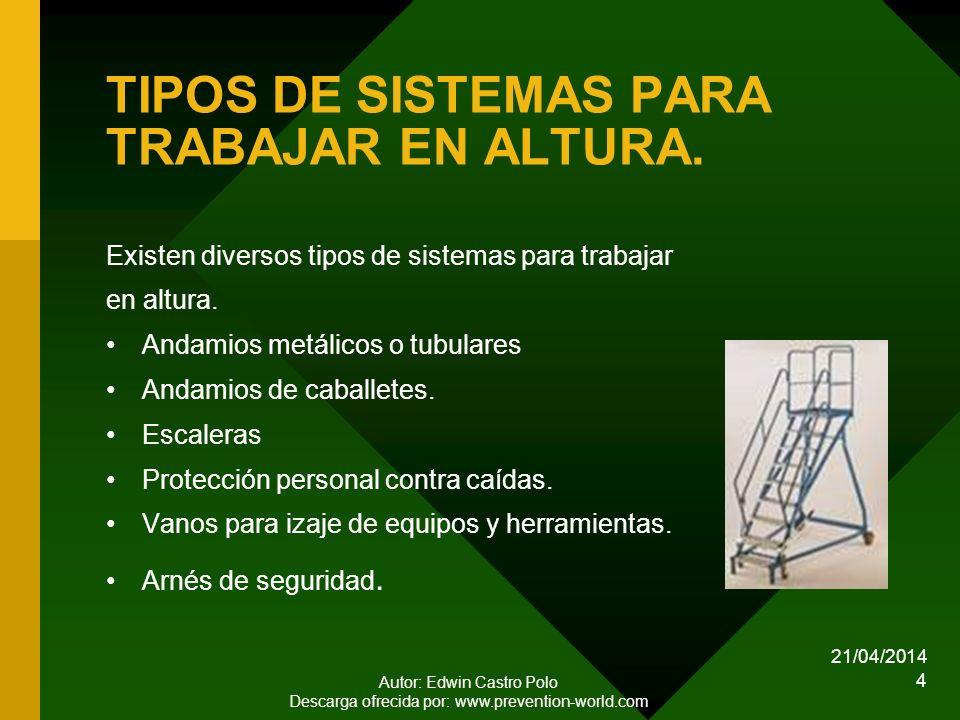 21/04/2014 Autor: Edwin Castro Polo Descarga ofrecida por: www.prevention-world.com 4 TIPOS DE SISTEMAS PARA TRABAJAR EN ALTURA.