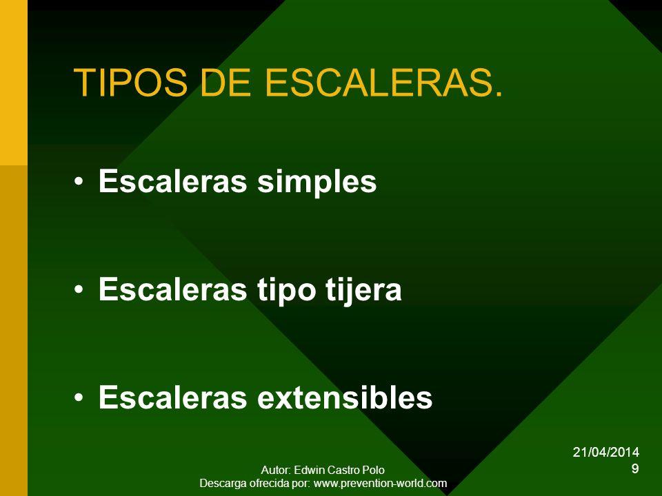21/04/2014 Autor: Edwin Castro Polo Descarga ofrecida por: www.prevention-world.com 9 TIPOS DE ESCALERAS.