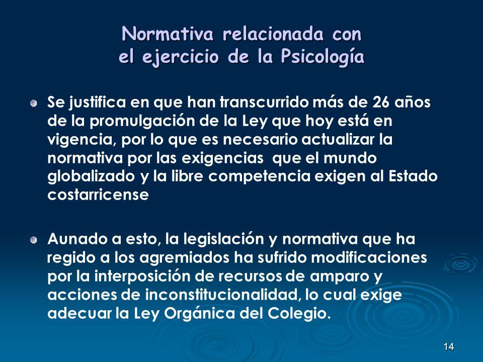 14 Normativa relacionada con el ejercicio de la Psicología Se justifica en que han transcurrido más de 26 años de la promulgación de la Ley que hoy es