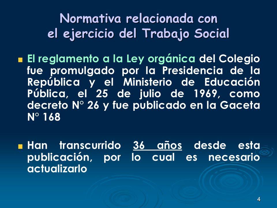 4 Normativa relacionada con el ejercicio del Trabajo Social El reglamento a la Ley orgánica del Colegio fue promulgado por la Presidencia de la Repúbl